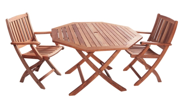 Conjunto de muebles de eucalipto para jard n granada mesa for Muebles de jardin mesas y sillas