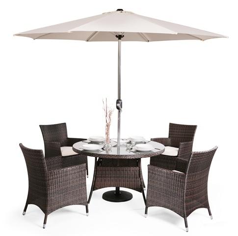 Conjunto de muebles de rat n para jard n lugo mesa for Comedor de jardin con sombrilla