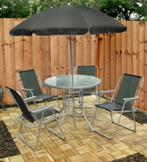 Juego de comedor de exterior con sombrilla mirini 4 for Comedor de jardin con sombrilla