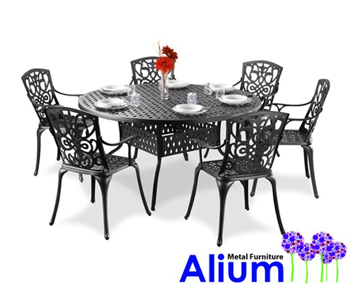 Conjunto de comedor redondo de aluminio fundido 6 sillas for Comedor redondo 6 sillas