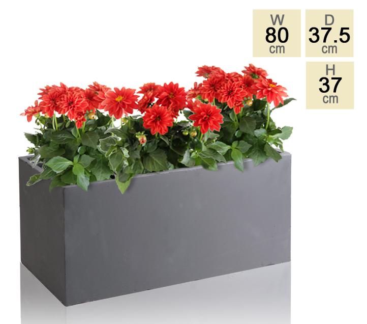 Maceta de rectangular de arcilla gris 50cm for Macetas rectangulares grandes