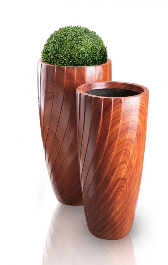 Maceta alta redonda efecto madera de fibra de vidrio - Maceta de madera ...