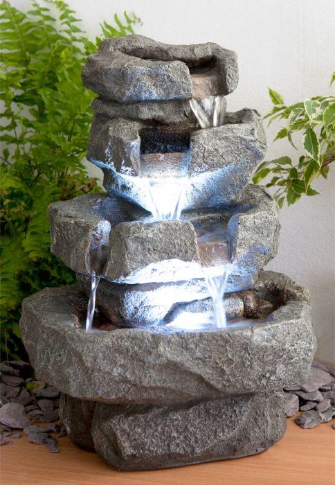 Fuente cascada de agua shubunkin luces led for Fuente cascada agua