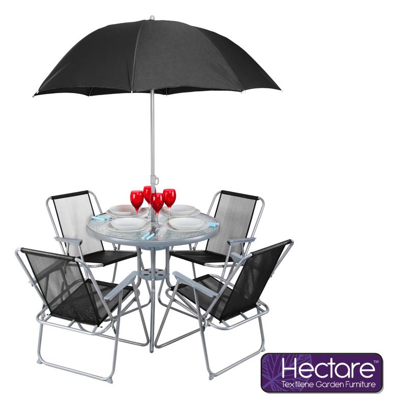 Conjunto de comedor de superpolytex con 4 sillas y for Comedor de jardin con sombrilla