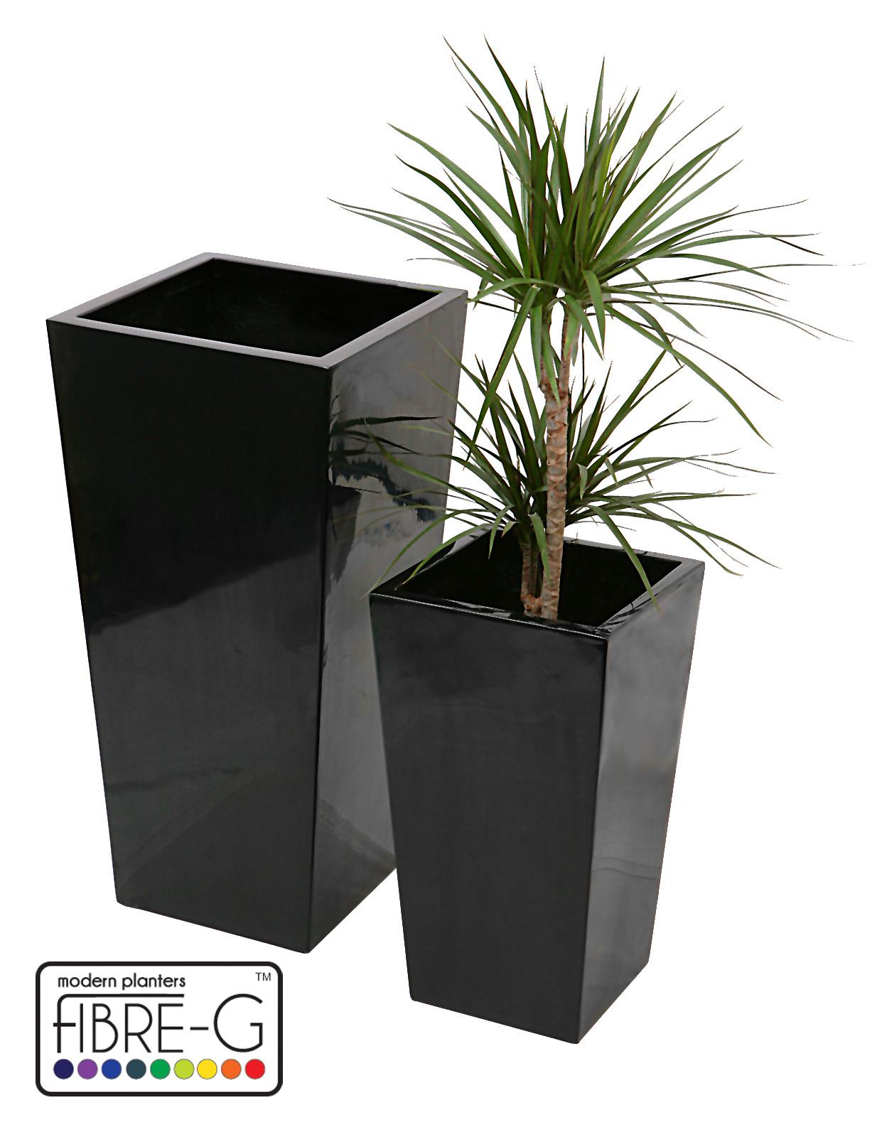 Maceta piramidal alta negra barnizada grande 139 99 for Macetas rectangulares grandes