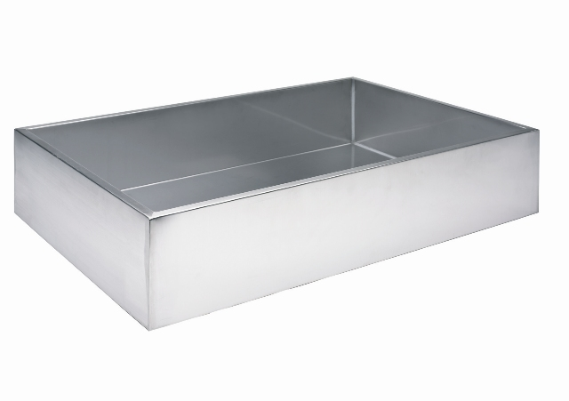 36L Estanque rectangular de acero inoxidable