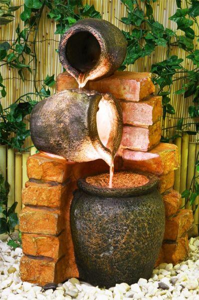 Fuente De Agua Con Tinajas De Aceite Y Luces 22499 - Fuentes-agua-jardin