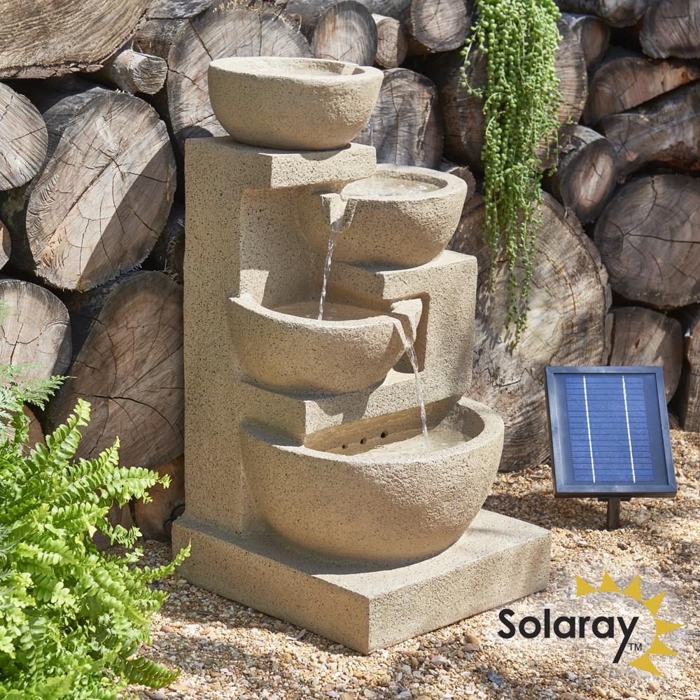 dise/ño de Paloma cer/ámica Primrose Fuente Solar Decorativa
