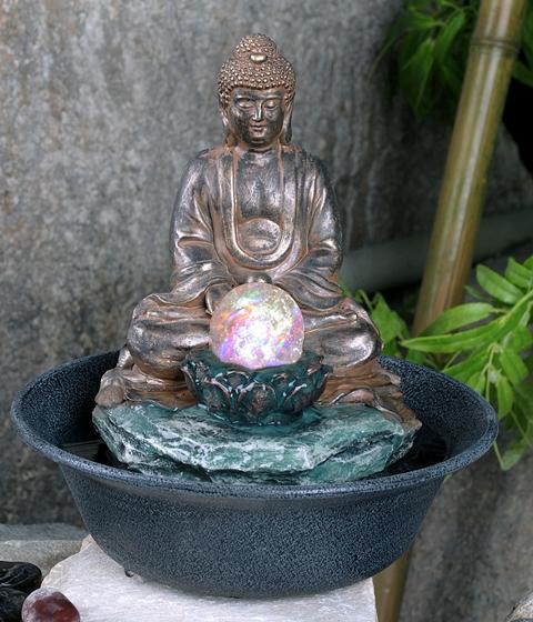 Fuente buda con una esfera de cristal con luces led 89 99 - Fuentes solares para jardin ...