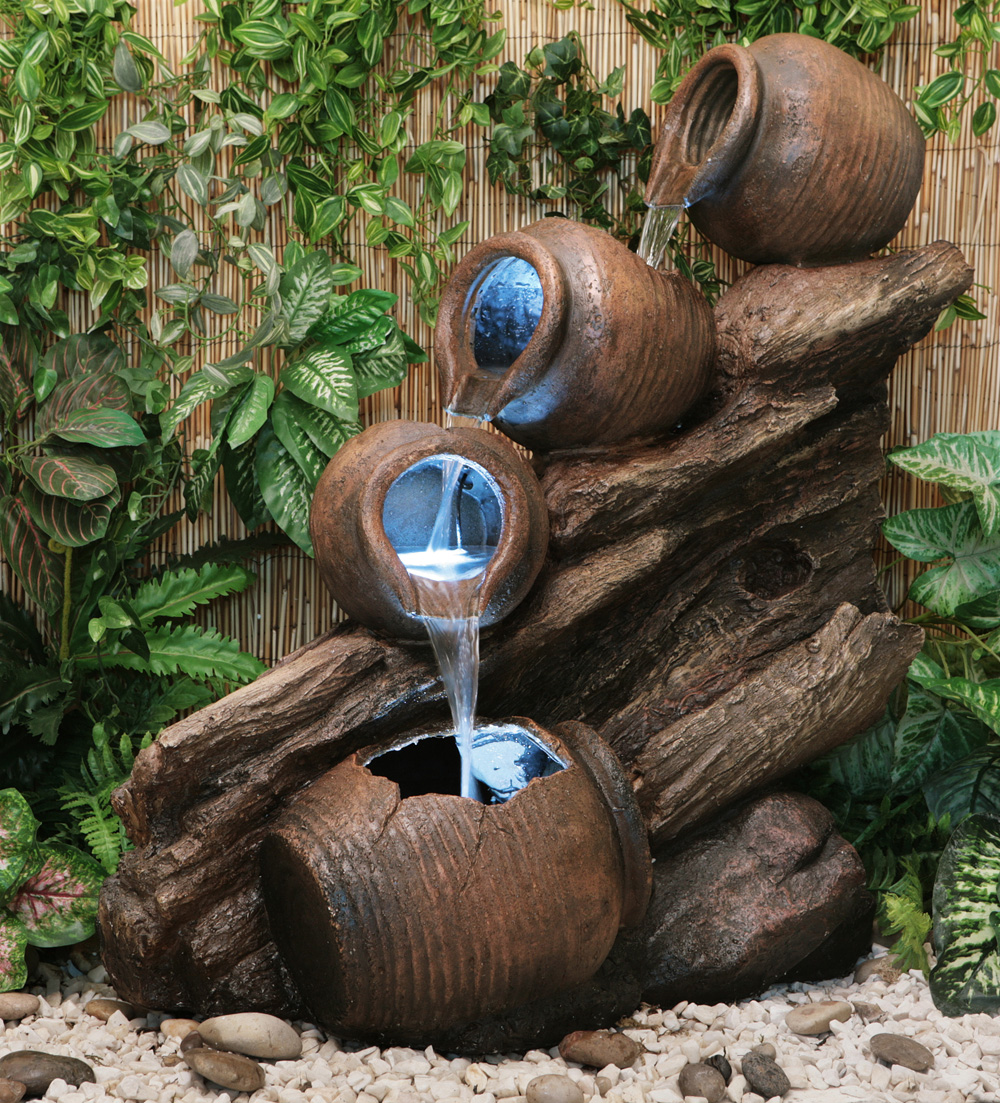 Fuente Cántaros de Agua sobre Madera - Luces LED - Altura 80cm 229,99 €