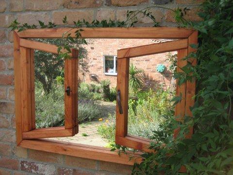 Espejo de jard n ilusi n ventana doble 191 99 for Espejos para jardin