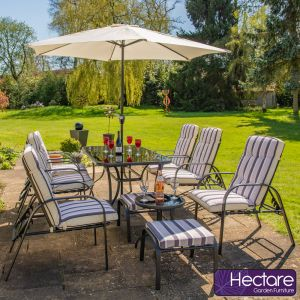 Hadleigh Reclining 6 Seater Garden Dining And Leisure Furniture Set In Black By Hectare™