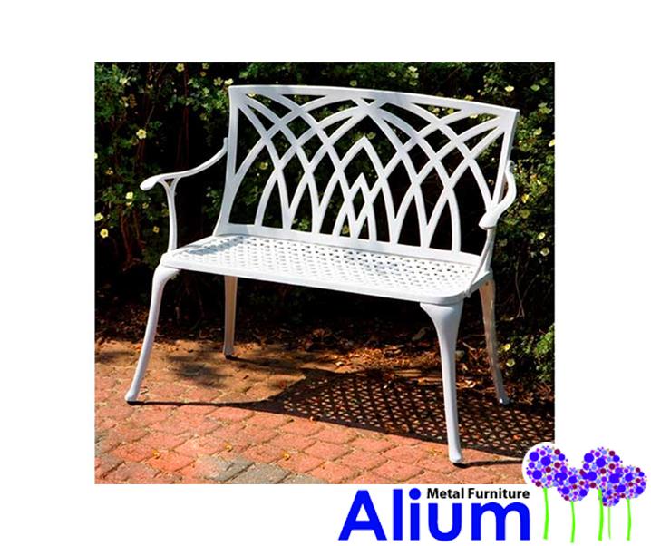 Banco de aluminio fundido para jard n oviedo color blanco for Bancos de aluminio para jardin
