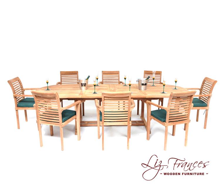 conjunto de comedor ovalado extensible con 8 sillas liz