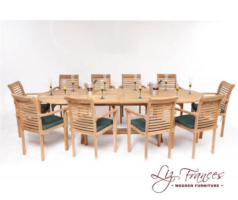 conjunto de comedor ovalado extensible con 10 sillas liz
