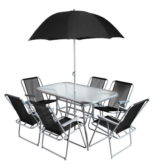 Conjunto de comedor de superpolytex con 6 sillas y for Comedor de jardin con sombrilla