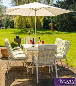Hadleigh 6 Seater Garden Dining Furniture Set In White By Hectare™