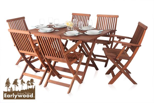 Conjunto de comedor rectangular de jard n 6 sillas con for Sillas comedor con reposabrazos