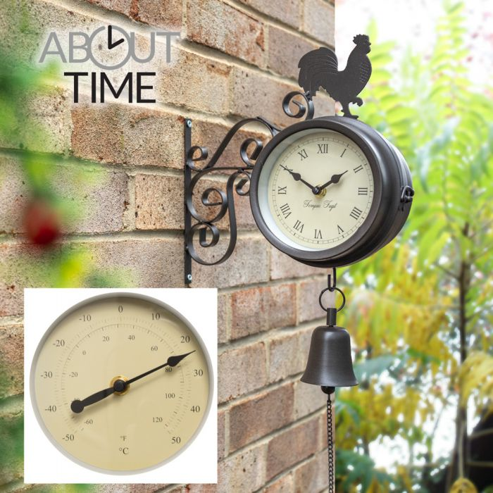 Reloj/Termómetro con Gallo y Campana Decorativos - 47cm - About Time