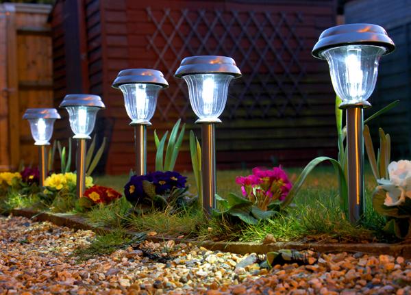 Balizas solares de acero inoxidable para jard n con luces for Balizas solares para jardin