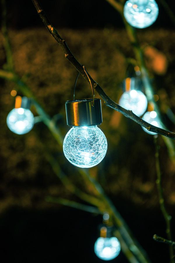 Luces solares de cristal agrietado y acero inoxidable para - Luces de jardin solares ...