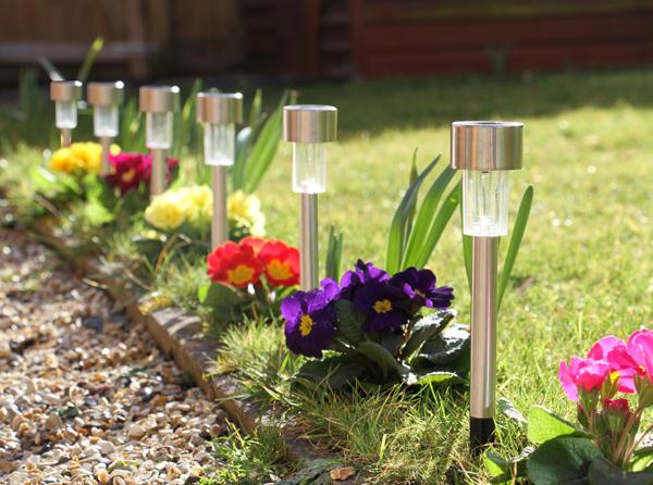 Balizas solares de acero inoxidable para jard n con luces led de solaray 6 unidades 11 99 - Balizas solares jardin ...