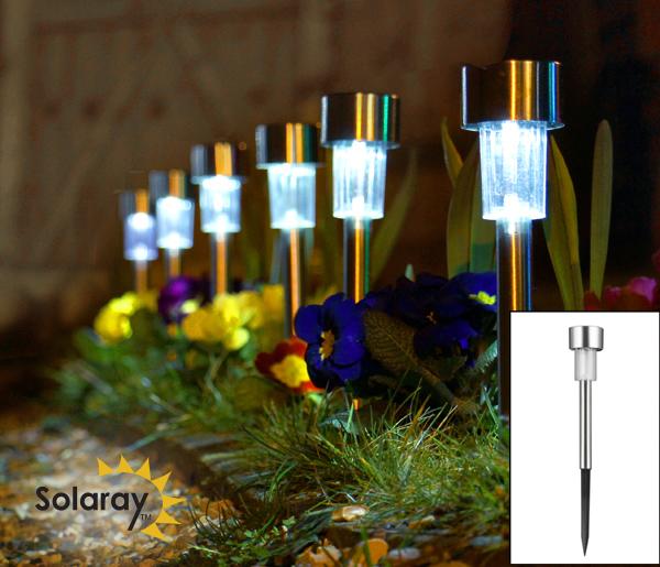 Balizas solares de acero inoxidable para jard n con luces - Luces solares jardin ...