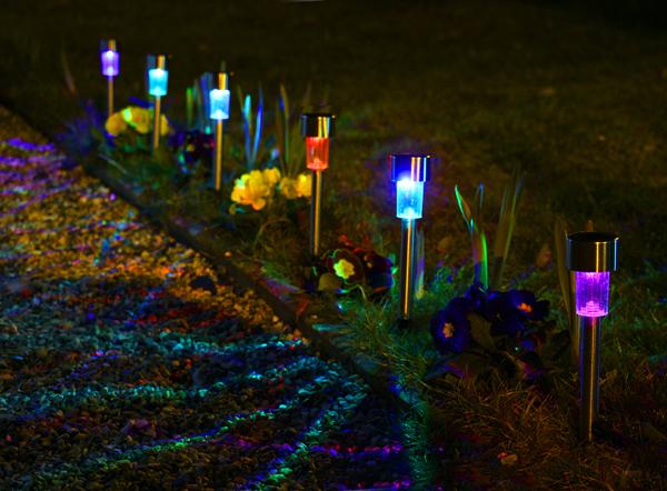 Balizas solares de acero inoxidable para jard n con luces led de colores de solaray 6 unidades - Luces de jardin solares ...
