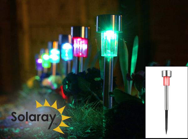 Balizas solares de acero inoxidable para jard n con luces led de colores de solaray 6 unidades - Balizas solares jardin ...