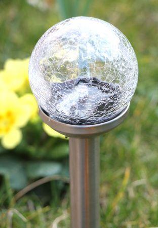 Balizas solares de cristal agrietado y acero inoxidable for Balizas solares para jardin