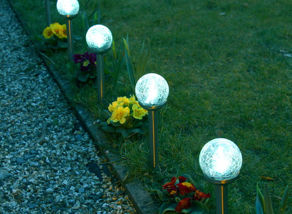 Balizas solares de cristal agrietado y acero inoxidable - Luces de jardin solares ...