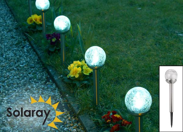 Balizas solares de cristal agrietado y acero inoxidable - Luces led para jardin ...