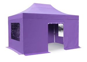 Standard 3m x 4.5m Foldable Pop Up Steel Gazebo Set In Lilac - Complete With Carry Bag