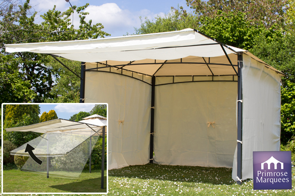 Carpa Clevedon con Toldo y Paredes Laterales - Color Marfil  -  3m x 3m