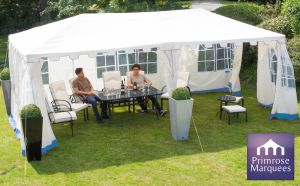 3m x 9m Blue and White Clarendon Party Tent with Side Walls - by Primrose™
