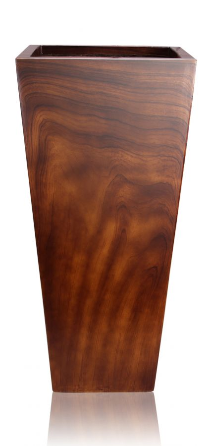 Maceta alta efecto madera de fibra de vidrio 74cm x 28cm - Jardineras de fibra de vidrio ...