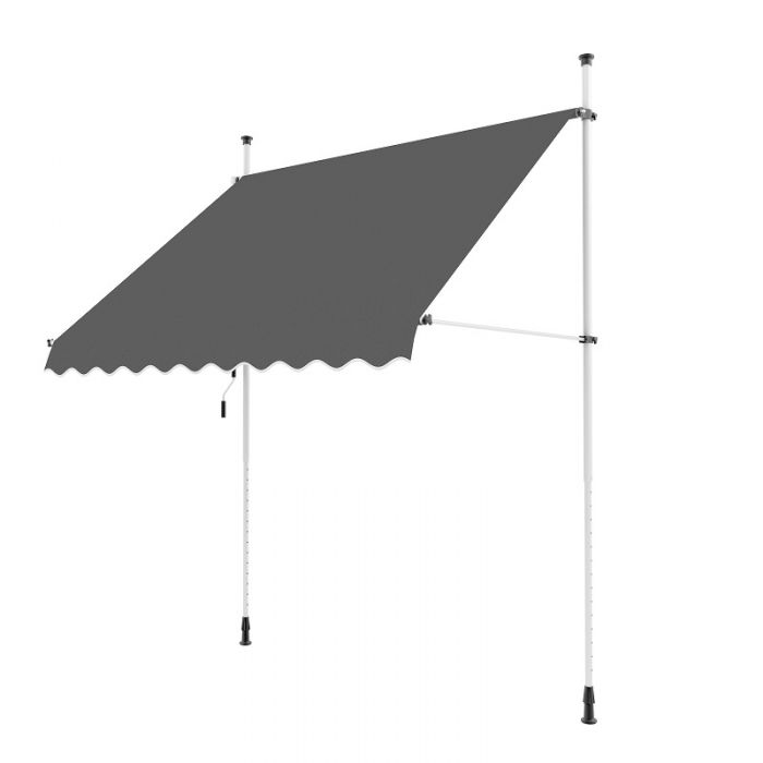 2.5m Toldo Portátil de Balcón Manual de Color Carbón
