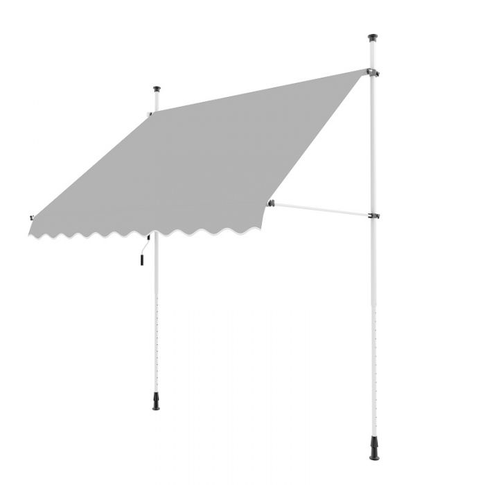 2m Toldo Portátil de Balcón Manual de Color Gris