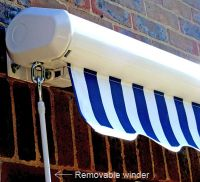 3.0m Toldo de Cofre Manual, de Color Rayas Blancas y Marrones