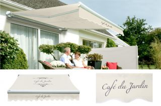 4.5m Toldo de Cofre Manual, de Color Cafe Du Jardin Marfil