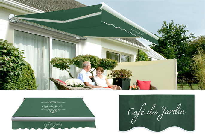3.5m Toldo de Cofre Manual, de Color Cafe Du Jardin Verde