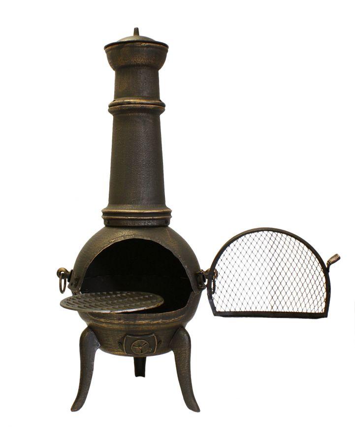 Chimenea grande de hierro fundido 39 santa lucia 39 en bronce - Chimeneas de hierro fundido ...