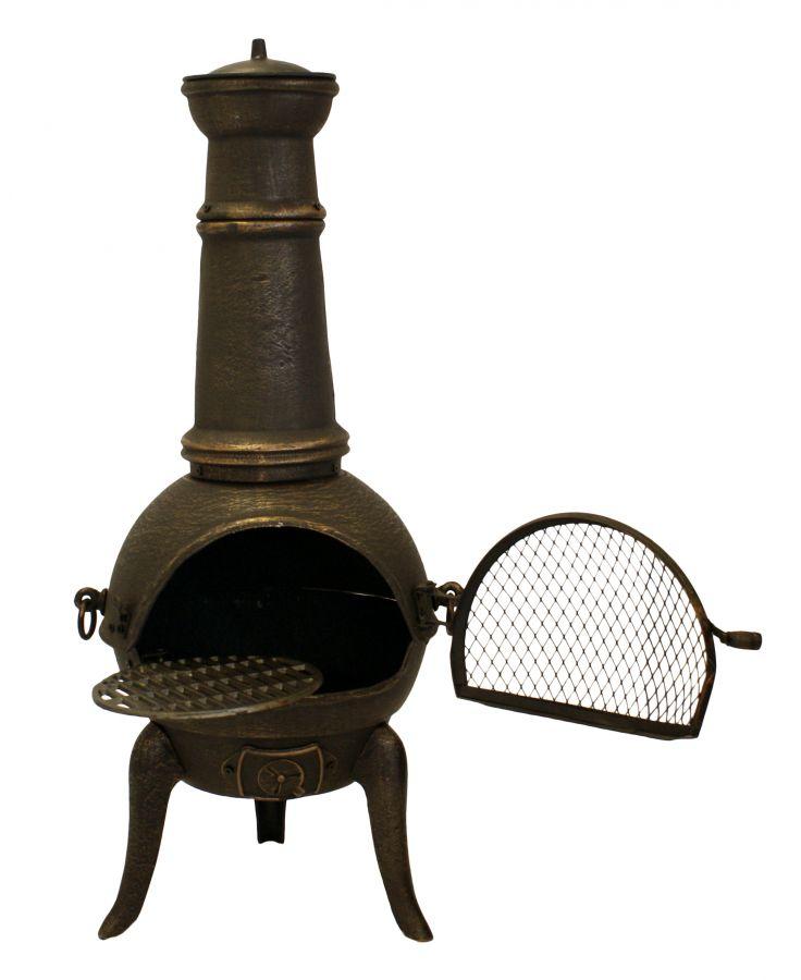 Chimenea peque a de hierro fundido 39 santa lucia 39 en bronce - Chimeneas de hierro fundido ...