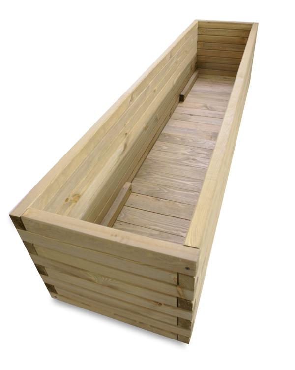 Macetero rectangular de madera de pino 40cm x 167 99 - Maceteros de madera ...