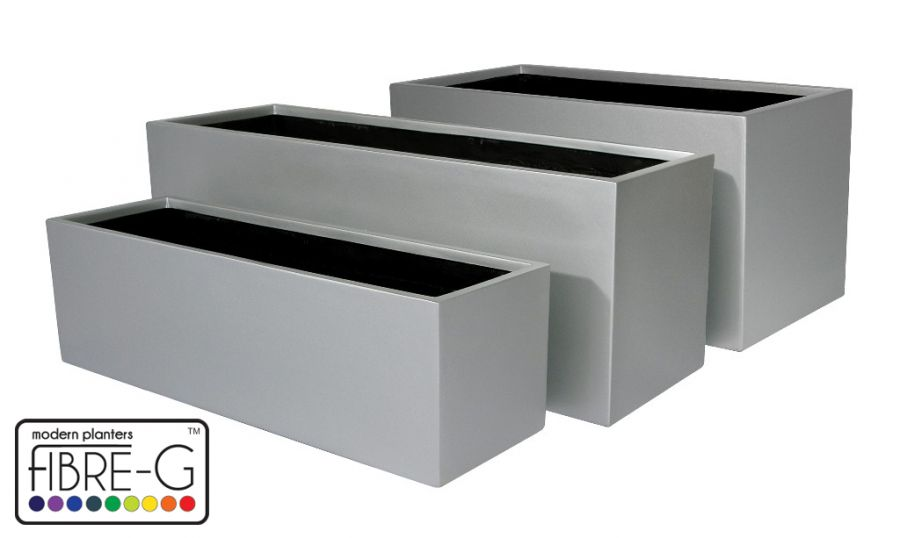 Macetero Rectangular - Plateado Mate - Mediano