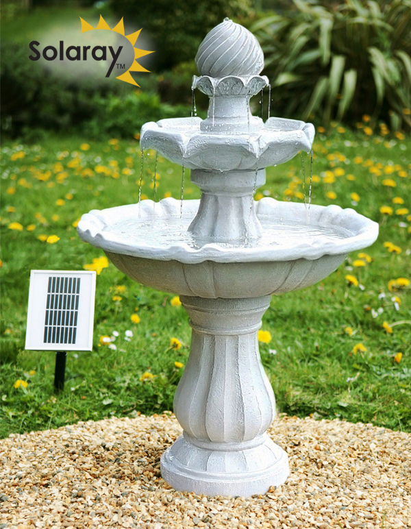 Fuente solar imperial con luces blanca 92cm por for Bebederos para aves jardin