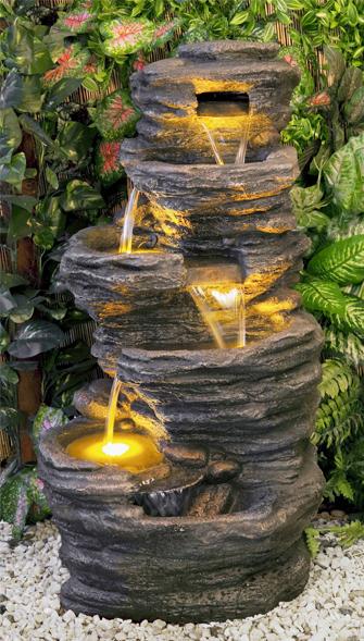 Fuente cascada de agua avoca 5 alturas luces led 449 99 for Fuente cascada agua