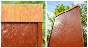 Pared Vertical de Acero Corten con Luces LED 175cm