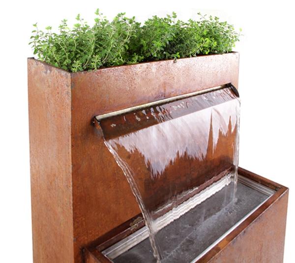 Langley fuente cascada de agua acero corten luces led for Fuente cascada agua